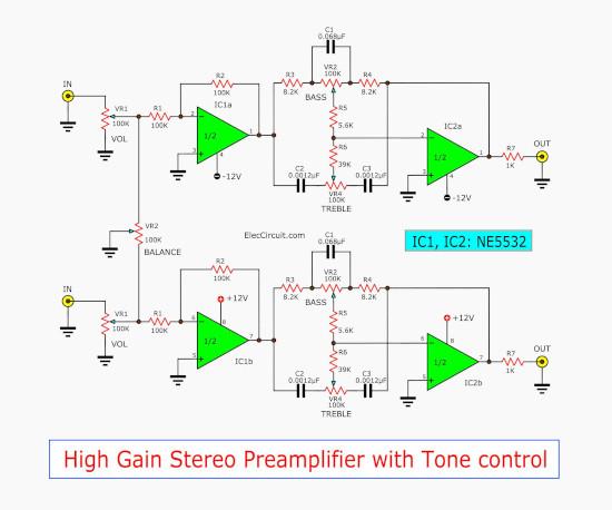High gain pre tone control stereo using NE5532
