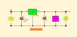 Basic 12V positive regulator using 7812