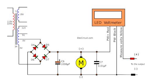 LED voltmeter Fan power supply