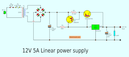 simple power supply diagram simple designing 12v 5a linear power supply eleccircuit com  12v 5a linear power supply