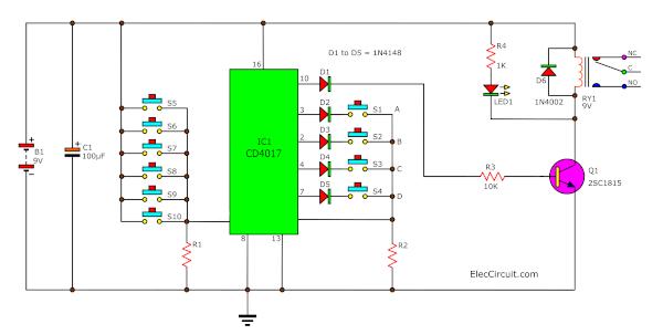 Key Code Lock Switch Circuit Using IC-4017