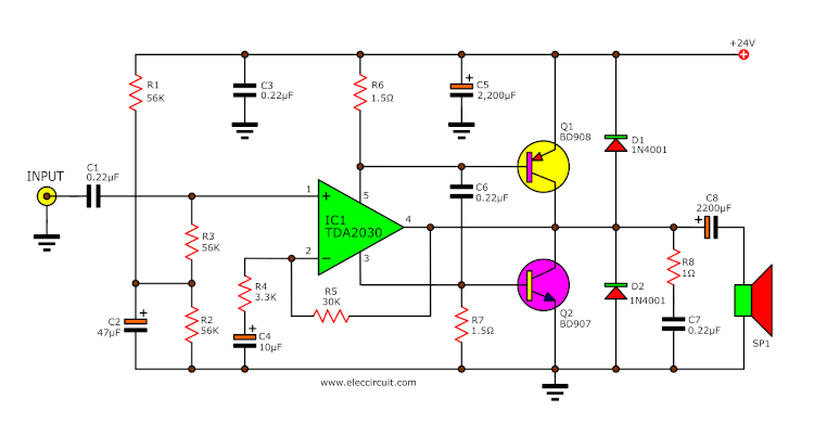 TDA2030 transistor Amplifer circuit