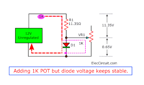 Adding 1K POT but diode voltage keeps stable