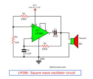 LM386 Square wave oscillator