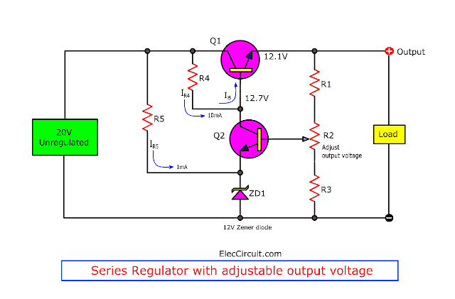 Circuit Diagram Also Simple Transistor Voltage Regulator