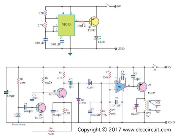 infrared intruder alarm circuit