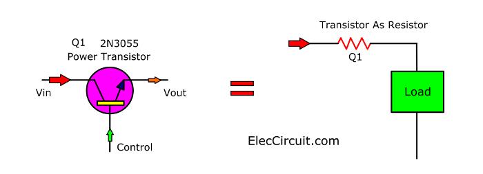 Power transistor works as resistor