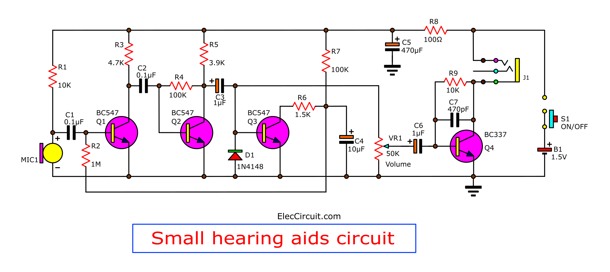 the cheap small hearing aids circuit project eleccircuit rh eleccircuit com