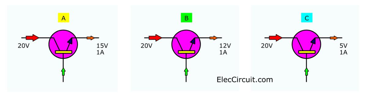 three example power transistor working