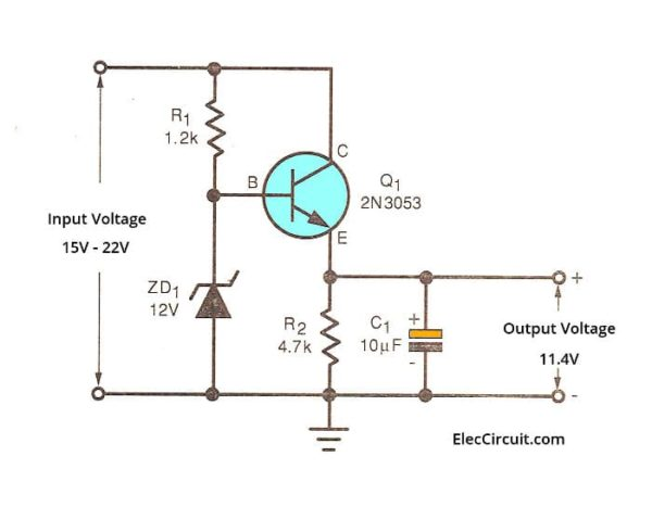 Basic Higher current Zener and transistor regulator