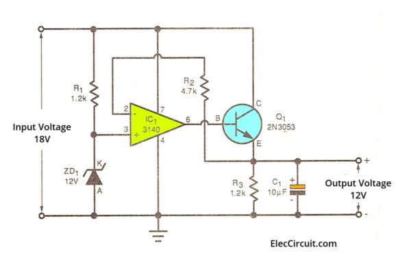 Voltage comparator Zener op-amp regulator circuit