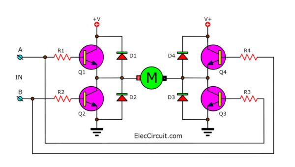 Using transistor Bridge as switch Motor control