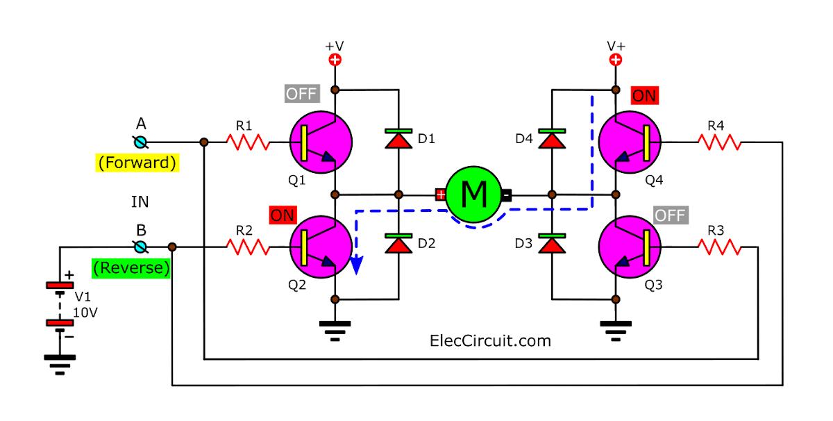 Basic H-bridge motor driver circuit by bipolar transistor