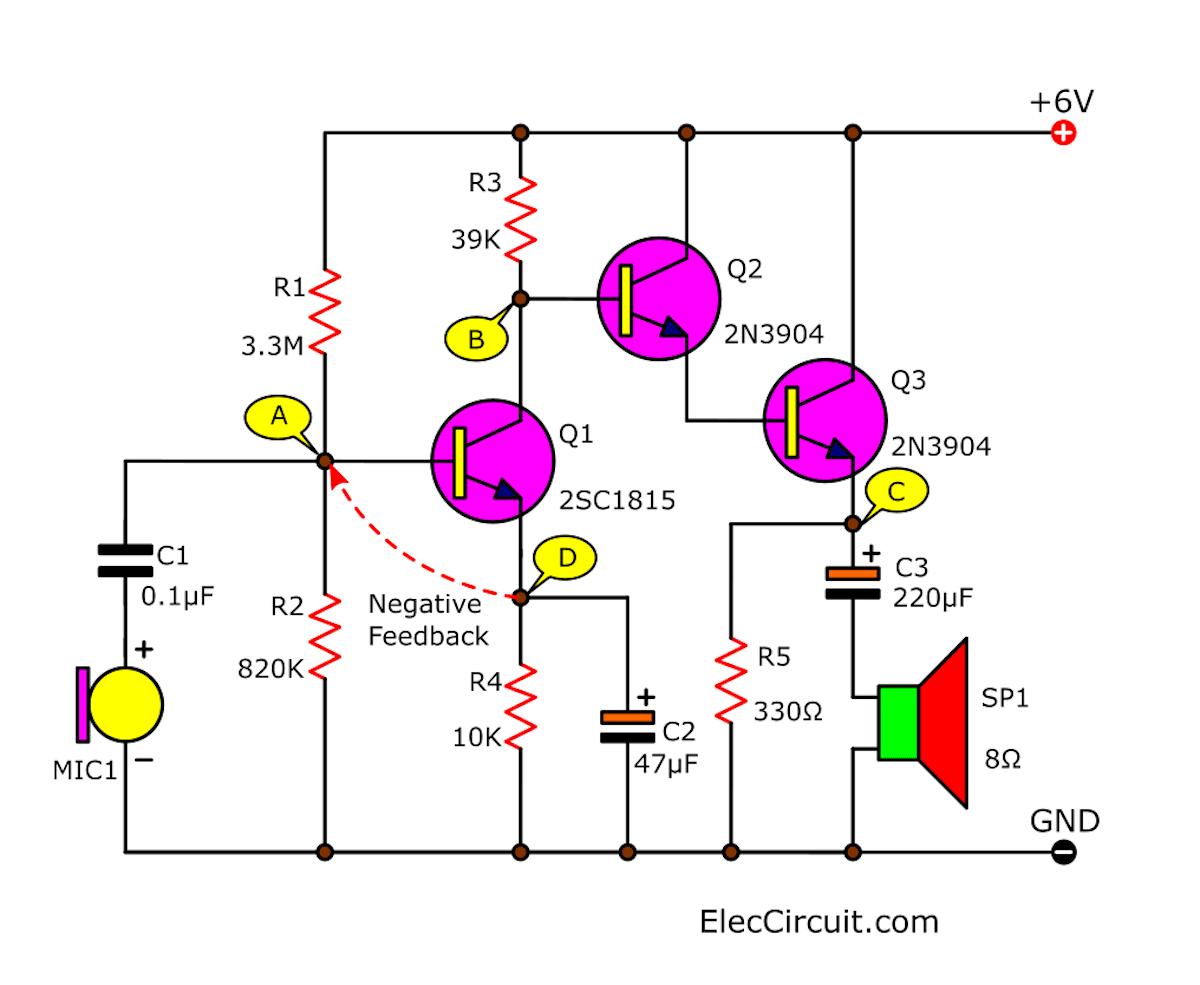 Let's try the 3 transistors Audio Amplifier circuits (MONO)    ElecCircuit.comElecCircuit.com