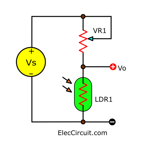 Using variable resistor with LDR in voltage divider circuit