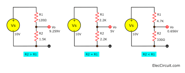 test voltage divider formula in 3 cases