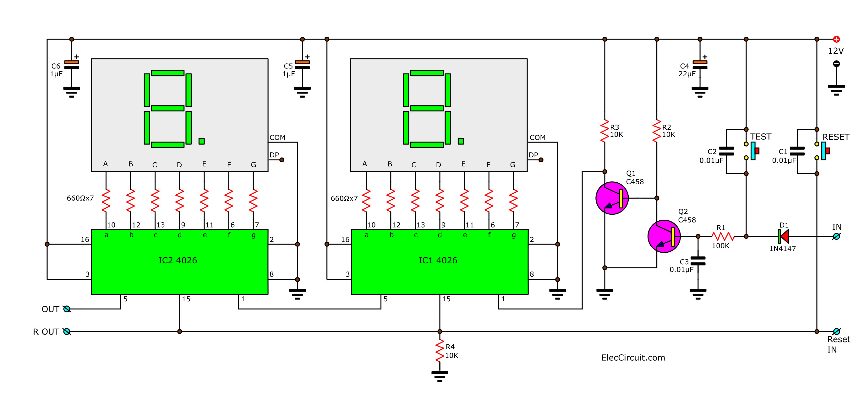 Simple 4 Digits Stopwatch Circuit Diode Tester Using Ic 741 And Led