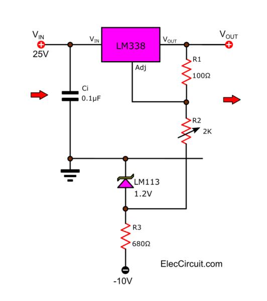 0 to 22V Regulator using LM338