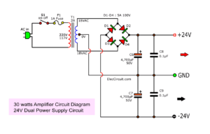 24V power supply for 30w amplifier circuit