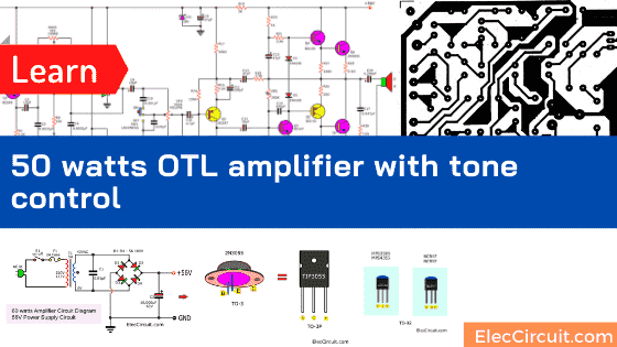 50W RMS OTL integrated audio amplifier circuit with tone control