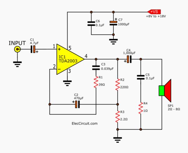 8-watt Power Amplifier using TDA2003