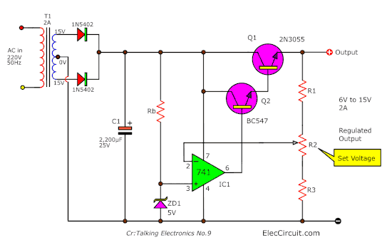 variable regulated power supply using 7805 and op amp eleccircuit comvariable regulated power supply, 5v 13v using ca3140