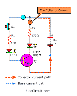 collector current path of transistor