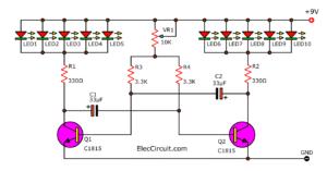 10 LED flasher circuit using multivibrator transistor