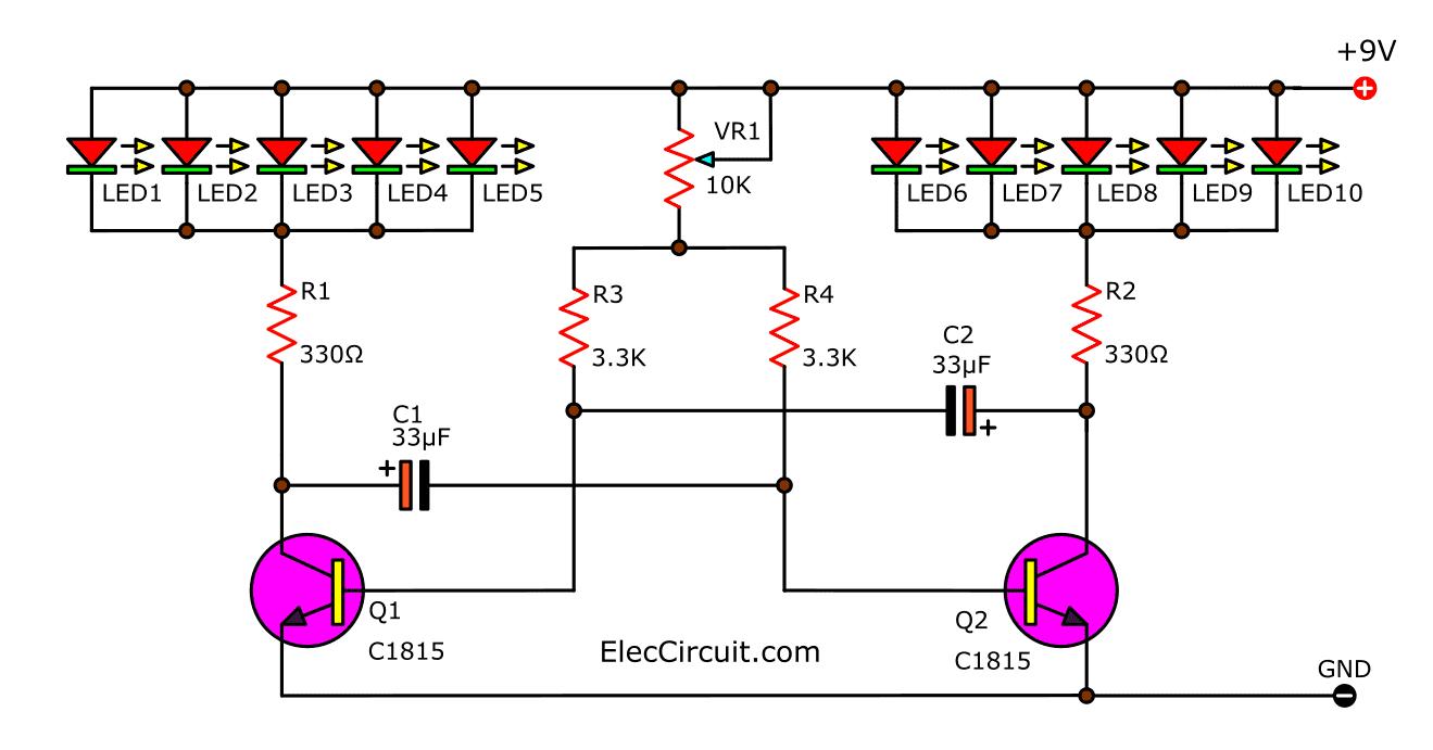 10 LED flasher using multivibrator transistor - ElecCircuit.com