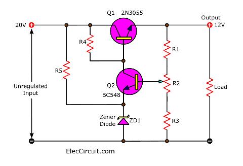 Basic transistor series voltage regulator circuit diagram