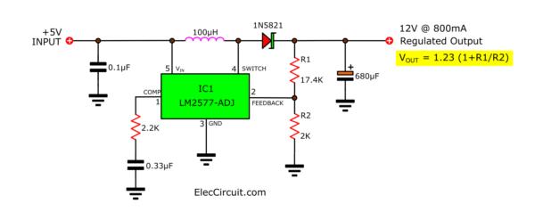 Basic using LM2577-ADJ Boost converter 5V to 12V 800mA