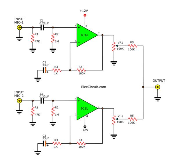 Simple Pre MIC  circuit 2 channel using NE5532 LF353