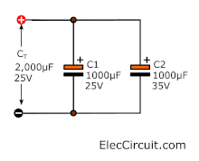 Parallel electrolytic capacitors
