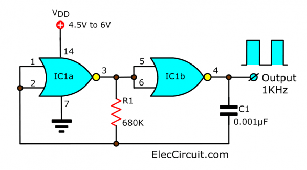 1KHz Square wave generator circuit using NOR Gate CD4001