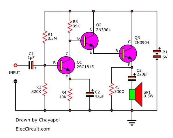Basic transistors amplifier circuit using 2N3904