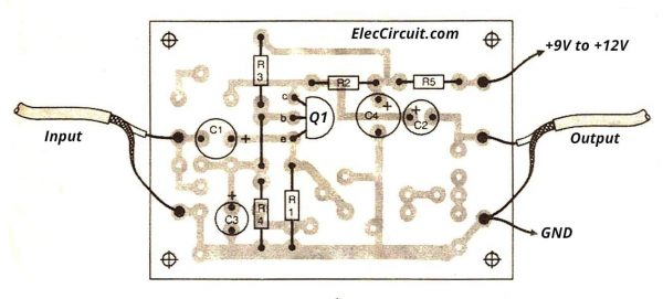 Components layout of high impedance preamplifier