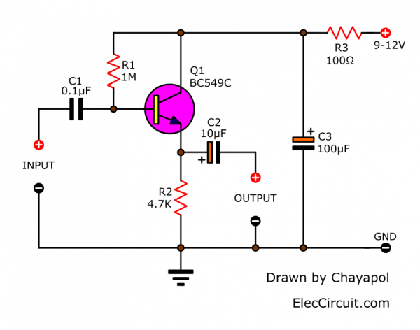High impedance preamplifier using a transistor
