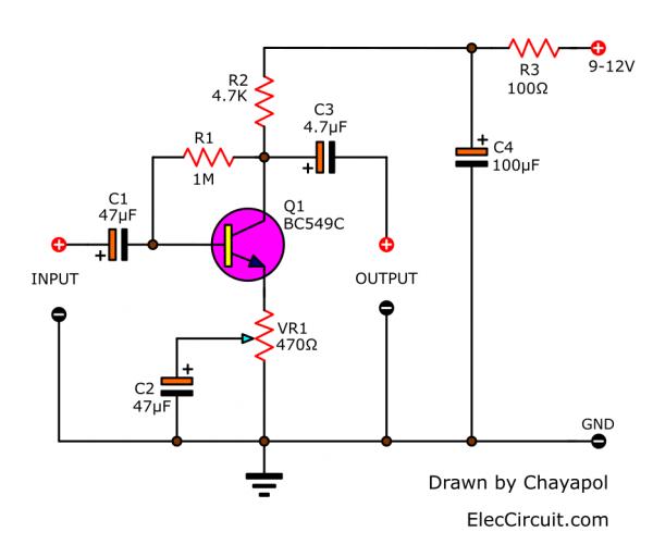 Medium Impedance Preamplifier circuit using transistor