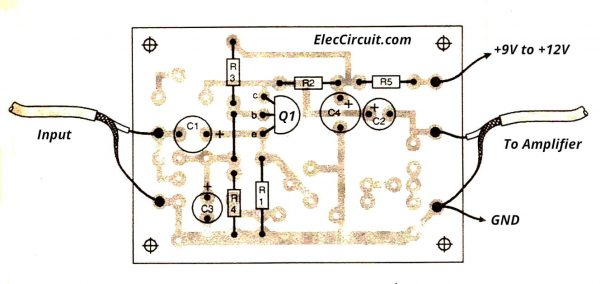 components layout low impedance transistor preamplifier