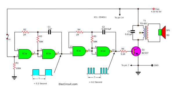 Clock Generator circuit using 4011