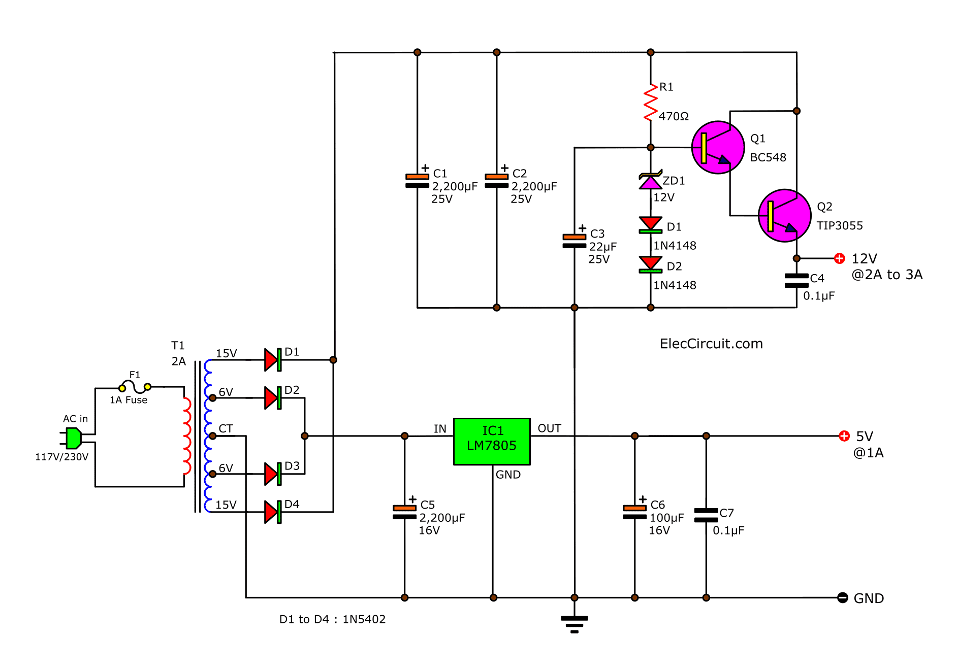 DC power supply 5V and 12V using 2N3055-LM309