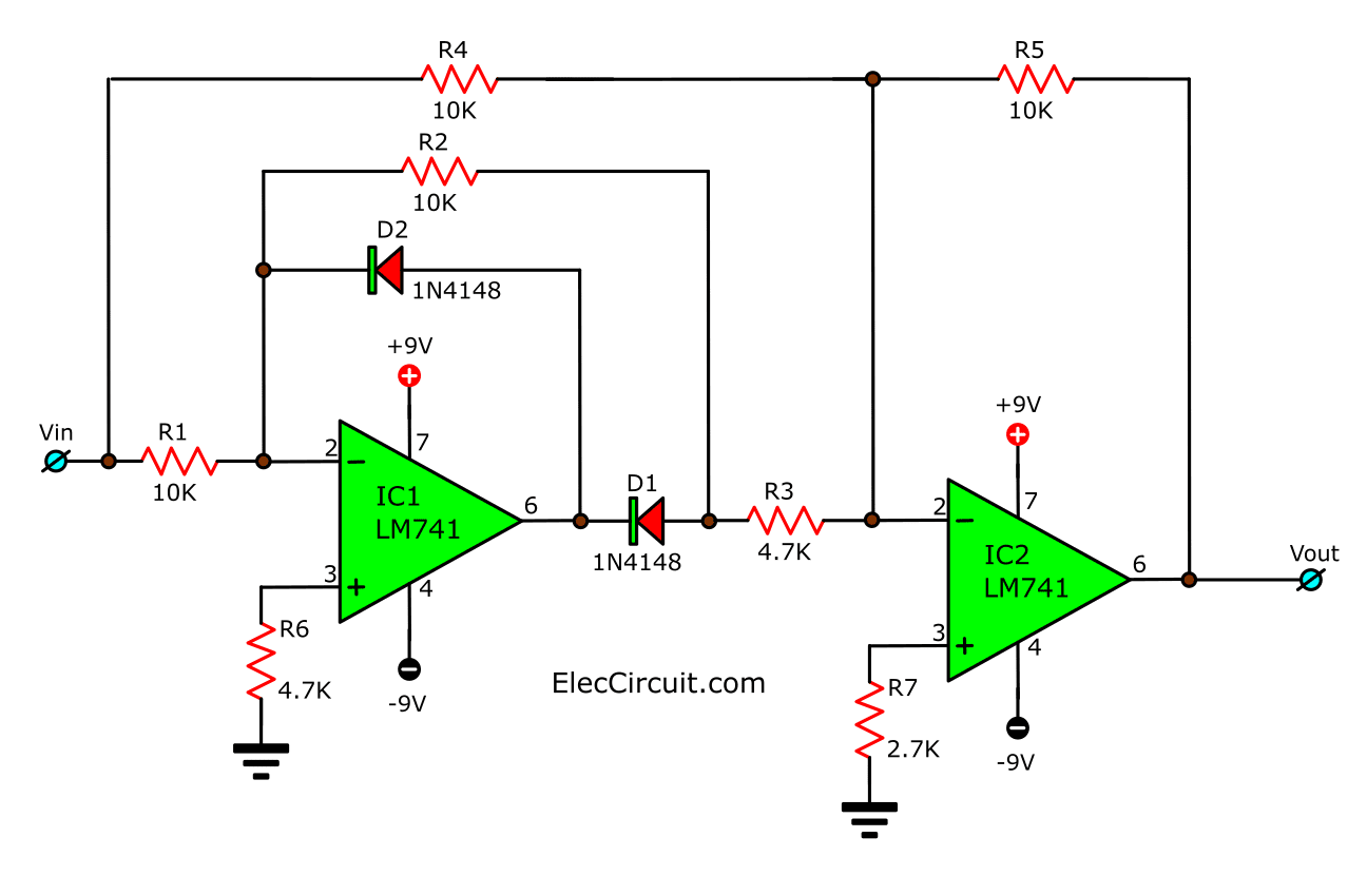 Full-wave precision rectifiers circuit using OP-AMP