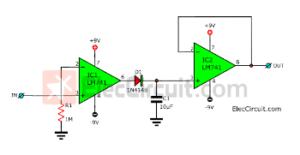 Simple Peak Detector circuit using 741