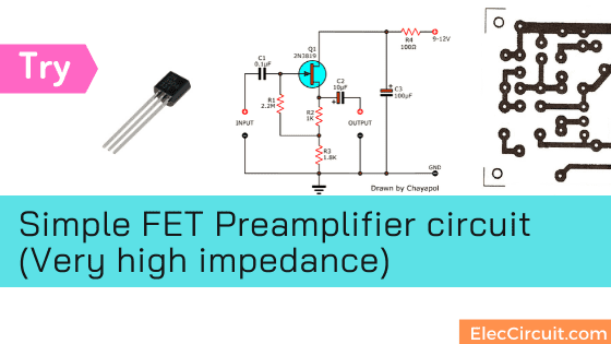 Try Simple FET Preamplifier circuit (Very high impedance)