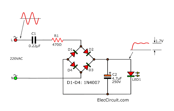 Bridge cap fed power supply for LED Display with capacitor filter
