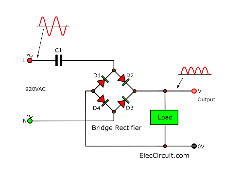 basic bridge transformerless DC Power supply circuit