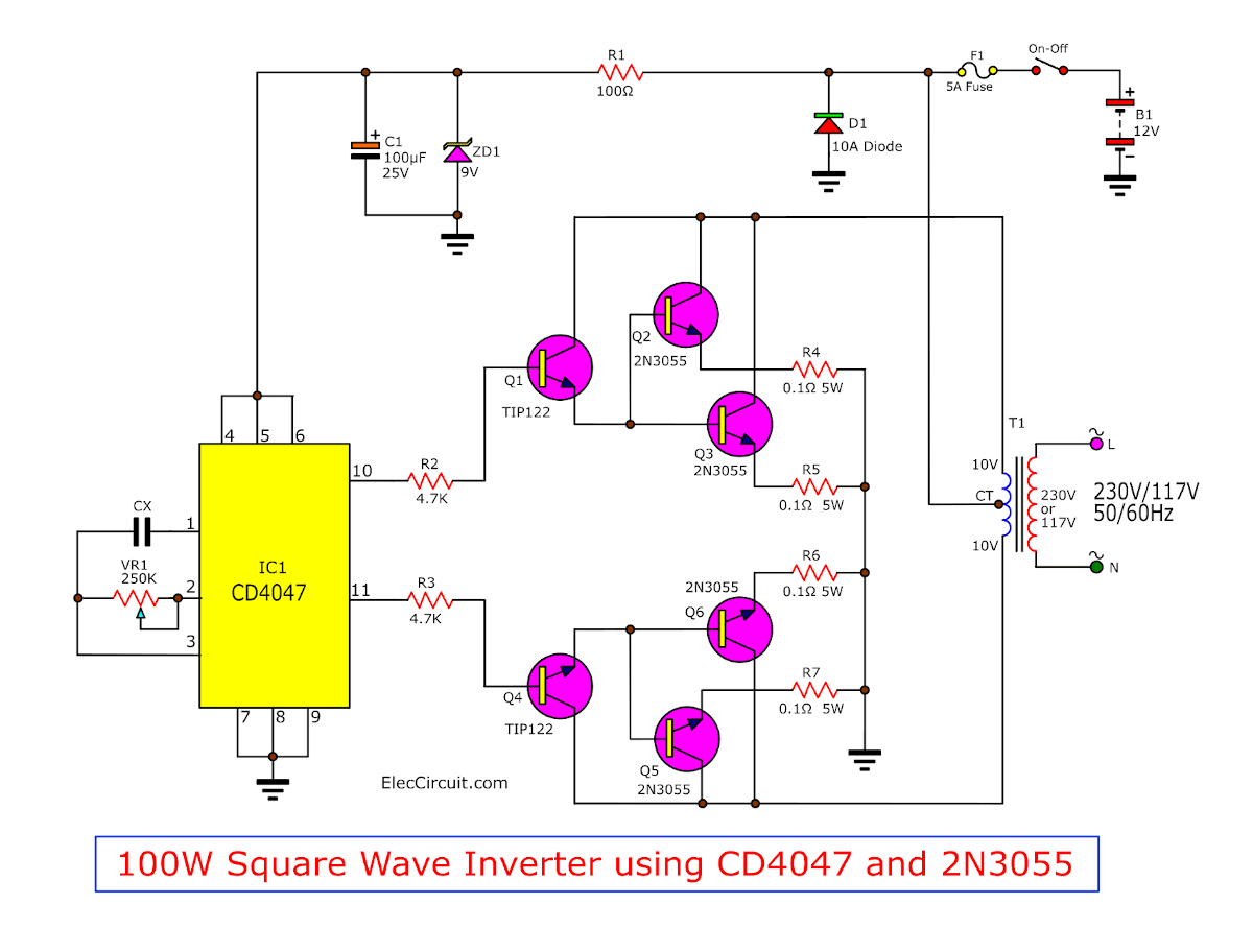 I P S Circuit Diagram Wiring Library Simple Remote Control Tester Eleccircuitcom Inverter 100w By Ic 4047 2n3055