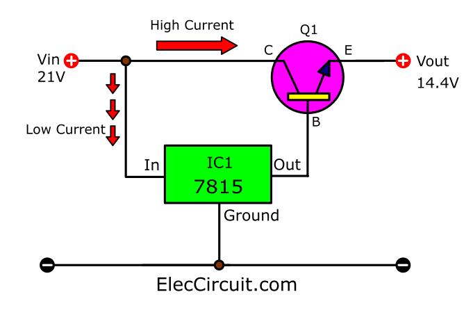14.4V DC regulator circuit using 7815 and transistor