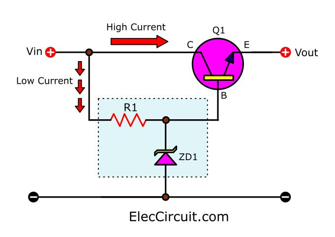 Zener diode and transistor regulator