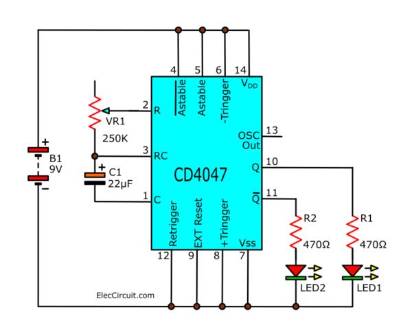 Blinking two LEDs using CD4047